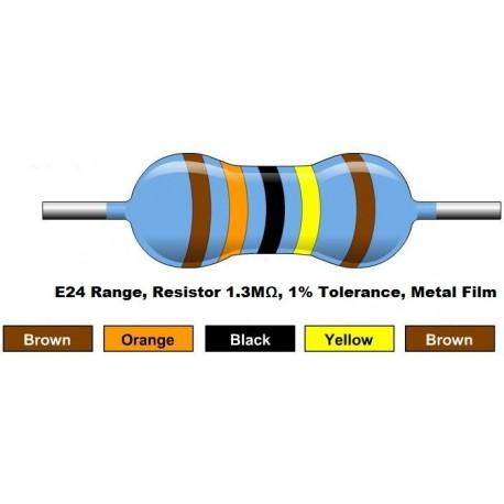 مقاومت 1.3 مگا اهم 1/4 وات 1 درصد (بسته 10 تایی)