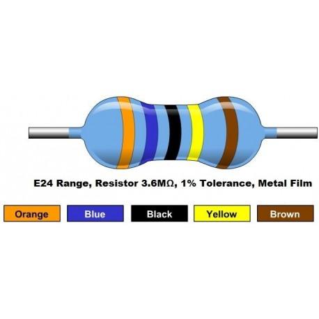 مقاومت 3.6 مگا اهم 1/4 وات 1 درصد (بسته 10 تایی)