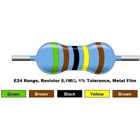 مقاومت 5.1 مگا اهم 1/4 وات 1 درصد (بسته 10 تایی)