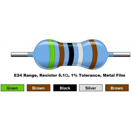 مقاومت 5.1 اهم 1/4 وات 1 درصد (بسته 10 تایی)