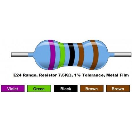 مقاومت 7.5 کیلو اهم 1/4 وات 1 درصد (بسته 10 تایی)