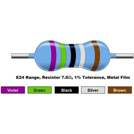 مقاومت 7.5 اهم 1/4 وات 1 درصد (بسته 10 تایی)