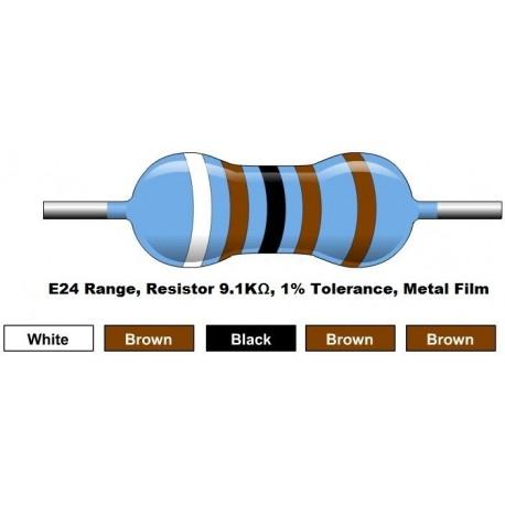 مقاومت 9.1 کیلو اهم 1/4 وات 1 درصد (بسته 10 تایی)