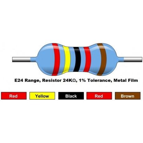 مقاومت 24 کیلو اهم 1/4 وات 1 درصد (بسته 10 تایی)