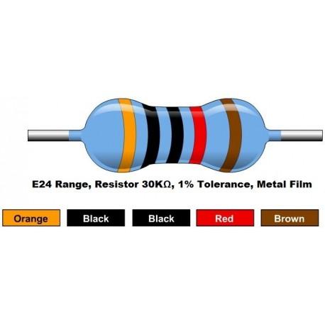 مقاومت 30 کیلو اهم 1/4 وات 1 درصد (بسته 10 تایی)