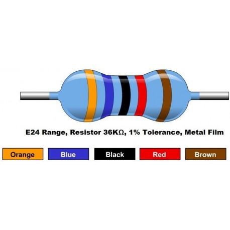 مقاومت 36 کیلو اهم 1/4 وات 1 درصد (بسته 10 تایی)