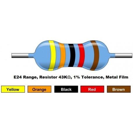 مقاومت 43 کیلو اهم 1/4 وات 1 درصد (بسته 10 تایی)