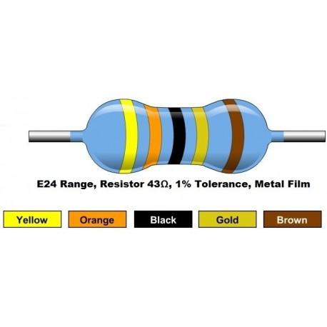 مقاومت 43 اهم 1/4 وات 1 درصد (بسته 10 تایی)
