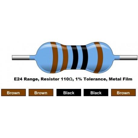مقاومت 110 اهم 1/4 وات 1 درصد (بسته 10 تایی)
