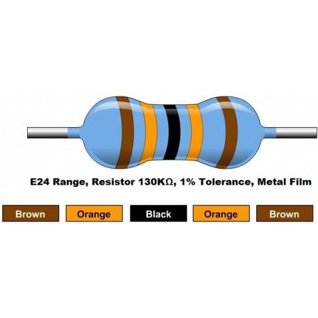 مقاومت 130 کیلو اهم 1/4 وات 1 درصد (بسته 10 تایی)