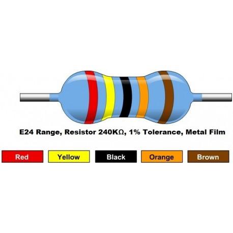 مقاومت 240 کیلو اهم 1/4 وات 1 درصد (بسته 10 تایی)
