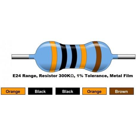 مقاومت 300 کیلو اهم 1/4 وات 1 درصد (بسته 10 تایی)