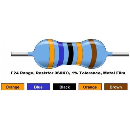 مقاومت 360 کیلو اهم 1/4 وات 1 درصد (بسته 10 تایی)