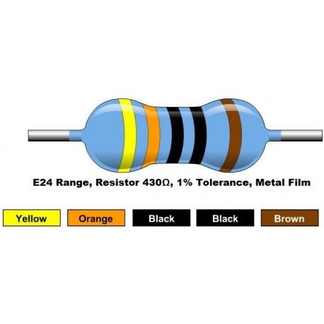 مقاومت 430 اهم 1/4 وات 1 درصد (بسته 10 تایی)