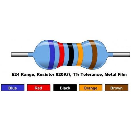 مقاومت 620 کیلو اهم 1/4 وات 1 درصد (بسته 10 تایی)